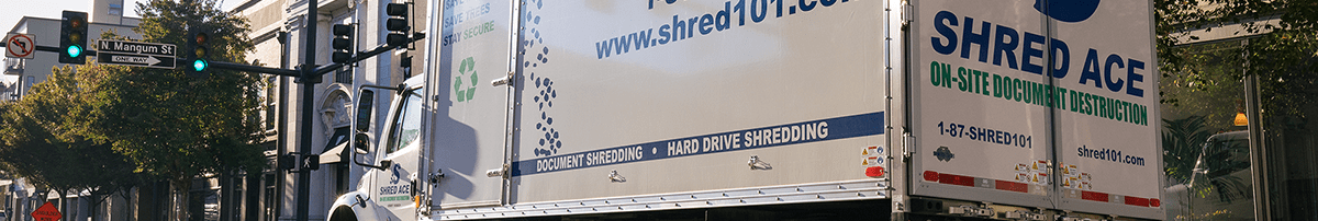 Shred Ace truck in street